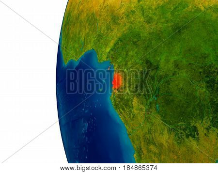 Equatorial Guinea On Model Of Planet Earth