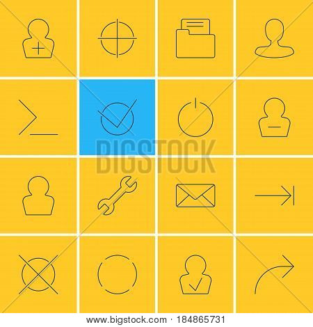 Vector Illustration Of 16 User Interface Icons. Editable Pack Of Remove User, Share, Tabulation Button And Other Elements.