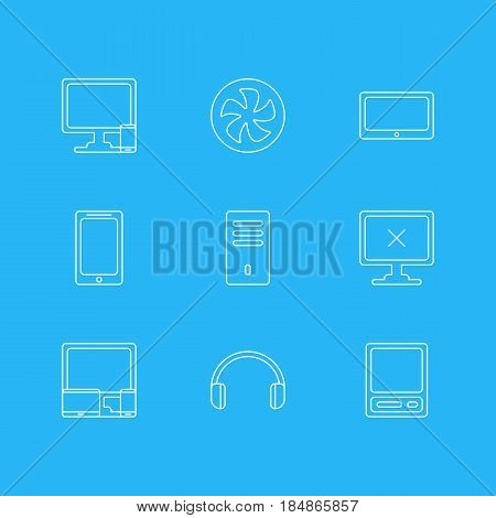 Vector Illustration Of 9 Notebook Icons. Editable Pack Of Phone Near Computer, Mainframe, Access Denied And Other Elements.