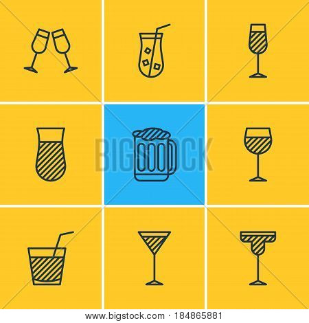 Vector Illustration Of 9  Icons. Editable Pack Of Martini, Celebrate, Goblet And Other Elements.