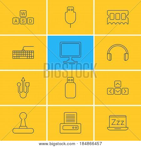Vector Illustration Of 12 Notebook Icons. Editable Pack Of Headsets, Keypad, Memory Chip And Other Elements.