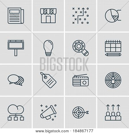 Vector Illustration Of 16 Advertising Icons. Editable Pack Of Circle Diagram, Shop, Discount Label And Other Elements.