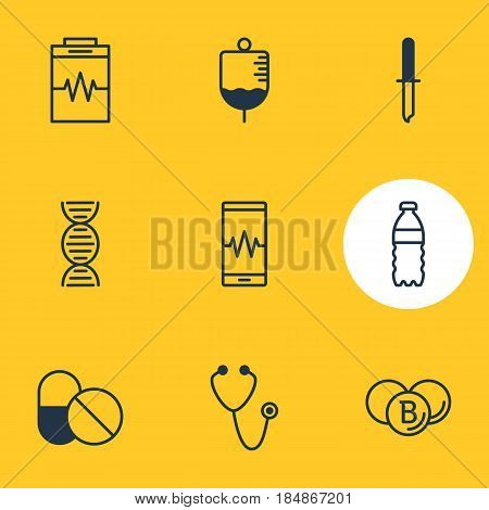 Vector Illustration Of 9 Medical Icons. Editable Pack Of Pipette, Antibiotic, Antibody And Other Elements.