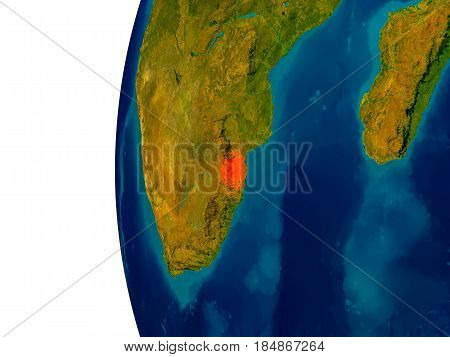 Swaziland On Model Of Planet Earth