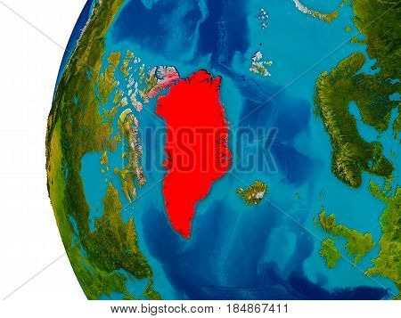 Greenland On Model Of Planet Earth