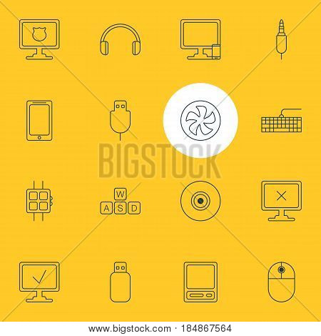 Vector Illustration Of 16 Laptop Icons. Editable Pack Of Modern Watch, Antivirus, Serial Bus And Other Elements.