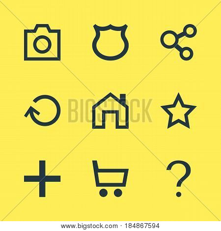 Vector Illustration Of 9 Member Icons. Editable Pack Of Publish, Help, Asterisk And Other Elements.