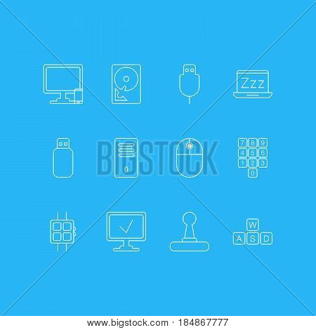 Vector Illustration Of 12 Notebook Icons. Editable Pack Of Game Controller, Mainframe, Modern Watch And Other Elements.