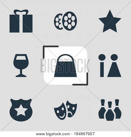 Vector Illustration Of 9 Location Icons. Editable Pack Of Handbag, Masks, Bookmark Elements.