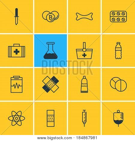 Vector Illustration Of 16 Health Icons. Editable Pack Of Pipette, Basket, Band Aid Elements.