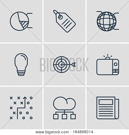 Vector Illustration Of 9 Advertising Icons. Editable Pack Of Cloud Distribution, Discount Label, Television And Other Elements.