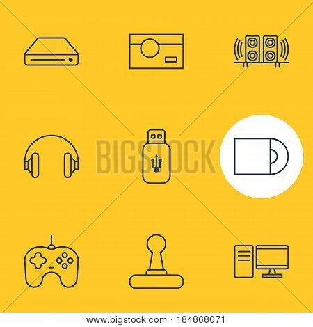Vector Illustration Of 9 Technology Icons. Editable Pack Of Loudspeaker, Joypad, Memory Storage And Other Elements.