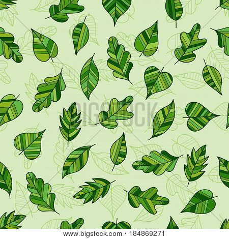 Creative Seamless Pattern of Fresh Leaves on Light Green Backdrop. Continued Botanical Background for Cloth Fabric Textile Tissue.