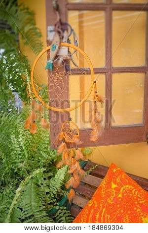 Dream Catcher Decorated Home Window stock photo