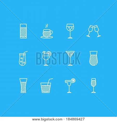 Vector Illustration Of 12 Beverage Icons. Editable Pack Of Martini, Margarita, Beverage And Other Elements.