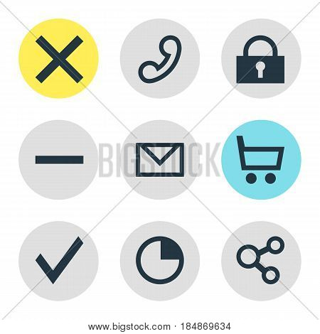 Vector Illustration Of 9 User Icons. Editable Pack Of Confirm, Wrong, Padlock And Other Elements.