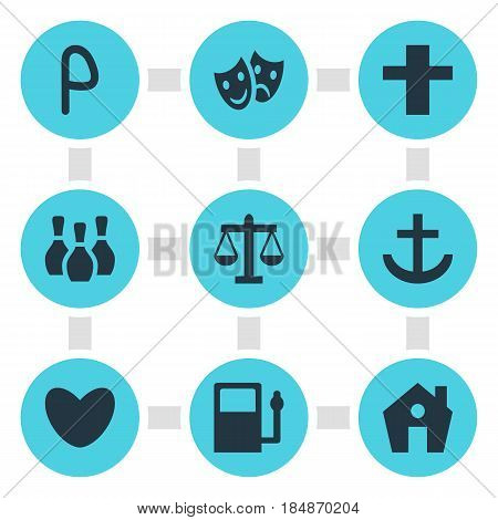 Vector Illustration Of 9 Check-In Icons. Editable Pack Of Scales, Refueling, Anchor And Other Elements.