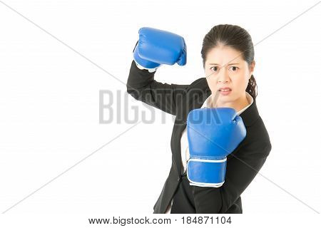 Determined Woman Pretending To Attack Pose