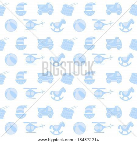 toys seamless pattern. vector seamless pattern for baby shower, fabric, background with doodle toys. Vector seamless pattern of baby color icons and symbols. Newborn boy blue color