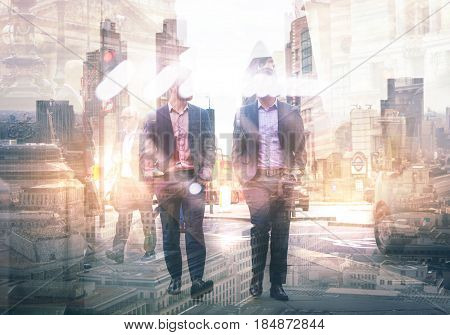 Two businessman in the City. Business and modern life concept. Multiple  exposure image