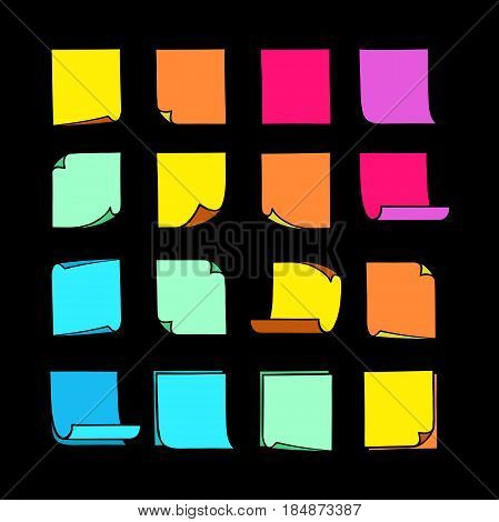 Vector colored stick notes, collection of colorful hand-drawn sheets of note paper with place for your text and message, isolated sticky note with curled corners, EPS 8