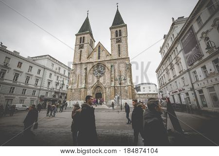 Catholic Cathedral Known Also As Sacred Heart Cathedral, In Sarajevo, Bosnia And Herzegovina.