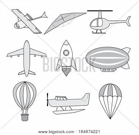 Air transports set: hydroplane glider helicopter airplane space rocket dirigible balloon glider parachute. Vector.