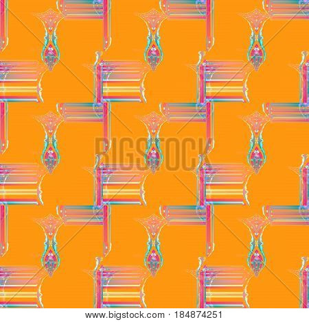 Abstract geometric seamless background. Regular stripes and squares pattern with oval elements violet, yellow, blue and pink on orange.