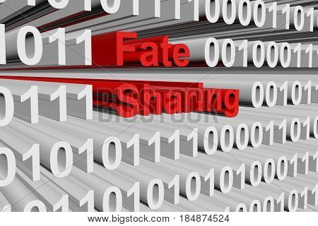 Fate sharing in a binary code 3D illustration