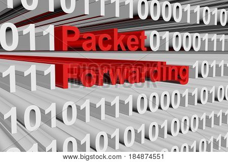 Packet forwarding in the form of binary code, 3D illustration