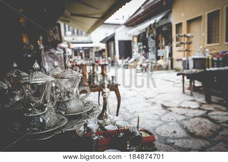 Copper Product As Souvenir For Visitors And Tourists In Old Town Sarajevo. Bosnia And Herzegovina.