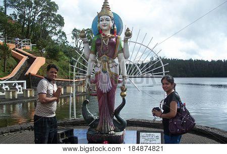 Ganga Temple at Ganga Talao with young couple
