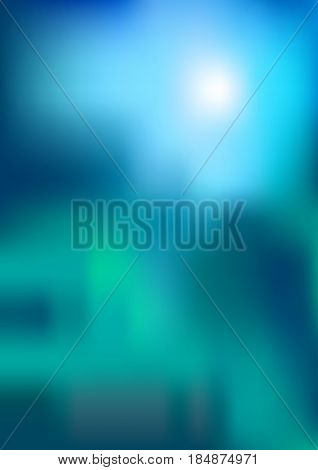 Nature background with blurred abstract blue sky end green grass. Abstract natural light for spring summer design, ecology backdrop. A4 format.