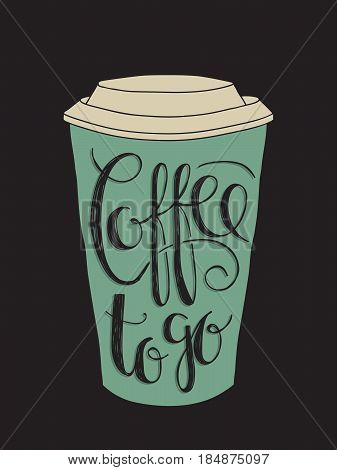 Paper coffee cup drawing with lettering of the text
