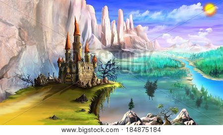 Magical Fairy Tale Castle Surrounded by Mountains above the River in a Summer Day. Digital Painting Background Illustration in cartoon style character.