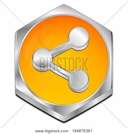 decorative orange Share Button - 3D illustration