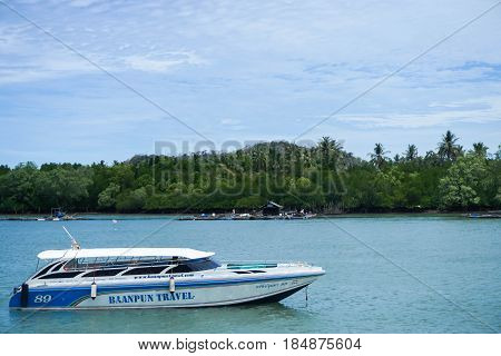 Baramee speedboat on blue sea water taken in Satun Thailand on 7 April 2017
