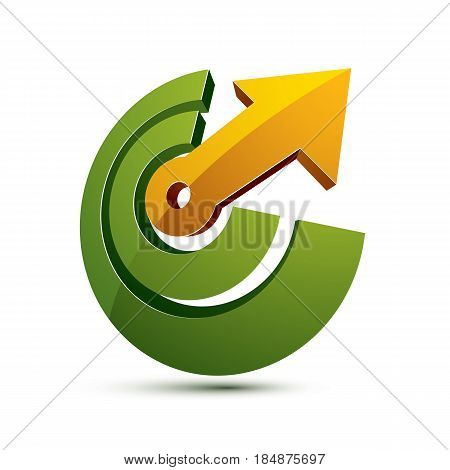 3d abstract symbol with an arrow. Business growth and prosperity concept vector design element innovations theme icon.