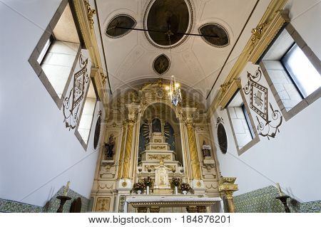 PONTE DE LIMA, PORTUGAL - OCTOBER 7, 2016: View of the altar of the baroque church of Santo Antonio da Torre Velha in Ponte de Lima Portugal