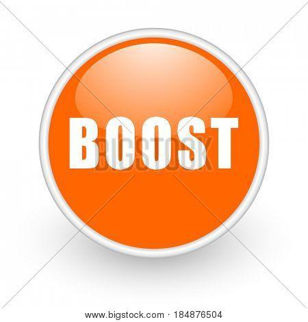 Boost modern design glossy orange web icon on white background.