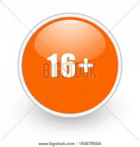Adults modern design glossy orange web icon on white background.
