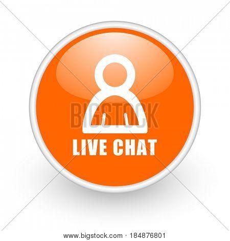 Live chat modern design glossy orange web icon on white background.