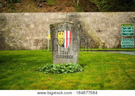 Ach Austria-May 5 2017: The Coat of arms for Upper Austria province