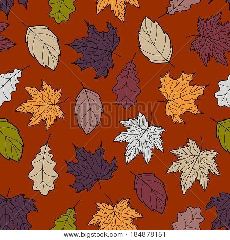 Hand-drawn seamless pattern of autumn leaves, various veined fall leaves, botanic vector background, EPS 8
