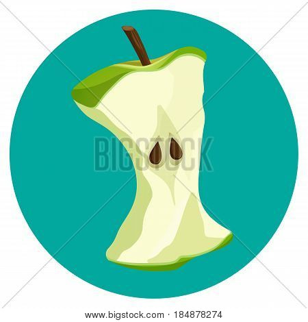 Bite apple core web button isolated on blue background vector illustration. Mark of bitten fruit with two seeds