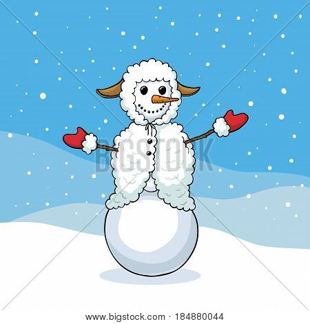 ute snowman in sheep costume enjoys the snow