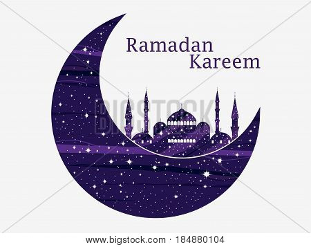 Ramadan Kareem. Mosque And A Crescent. Stars And Moon. Muslim Holiday Lights. Beautiful Poster, Bann