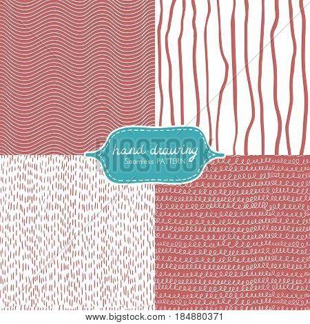 Hand Drawing Seamless Pattern with Dash, Scribble, Wave