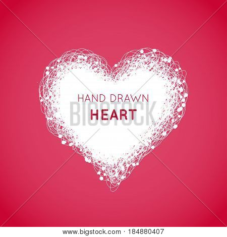 Hand drawn scribble heart with lots of small dots on the red background. Vector illustration. Frame for Valentine s Day or declaration of love.