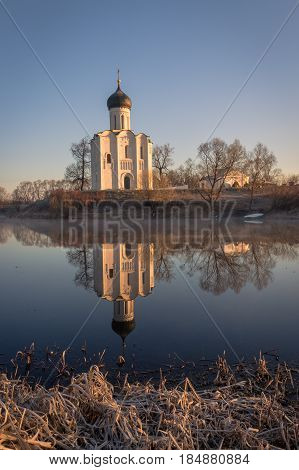 Traditional Orthodox Church In The Rays Of The First Spring Sun, Nerli, Russia